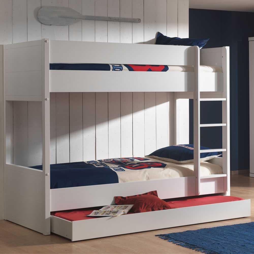 Kinderetagenbett in Weiß Bettkasten | Kinderzimmer > Kinderbetten > Etagenbetten | Weiß | Holzwerkstoff | 4Home