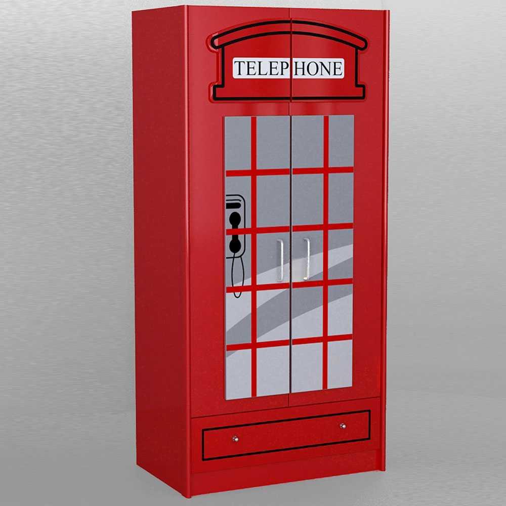 Kinder-Kleiderschrank im Telefonzellen Design Rot | Kinderzimmer > Kinderzimmerschränke | 4Home