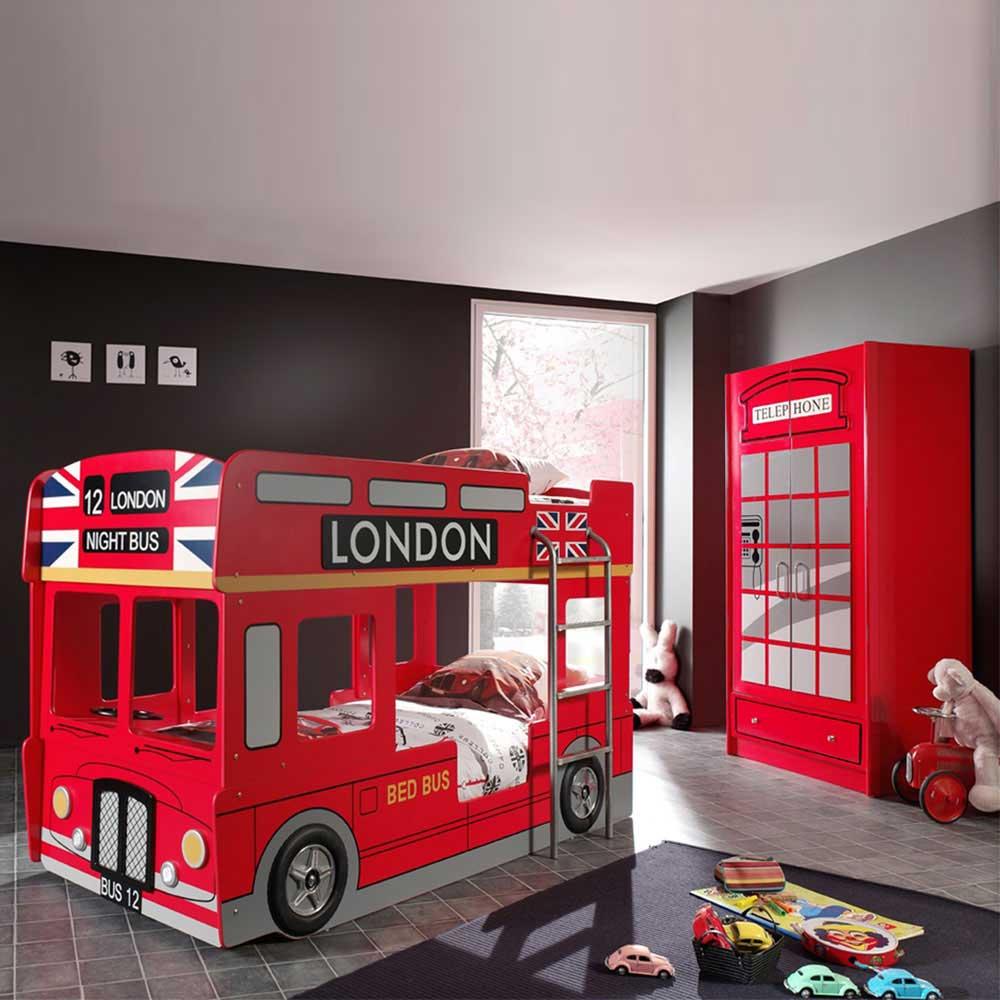 Bus-Etagenbett in Rot auf Rechnung (4-teilig)