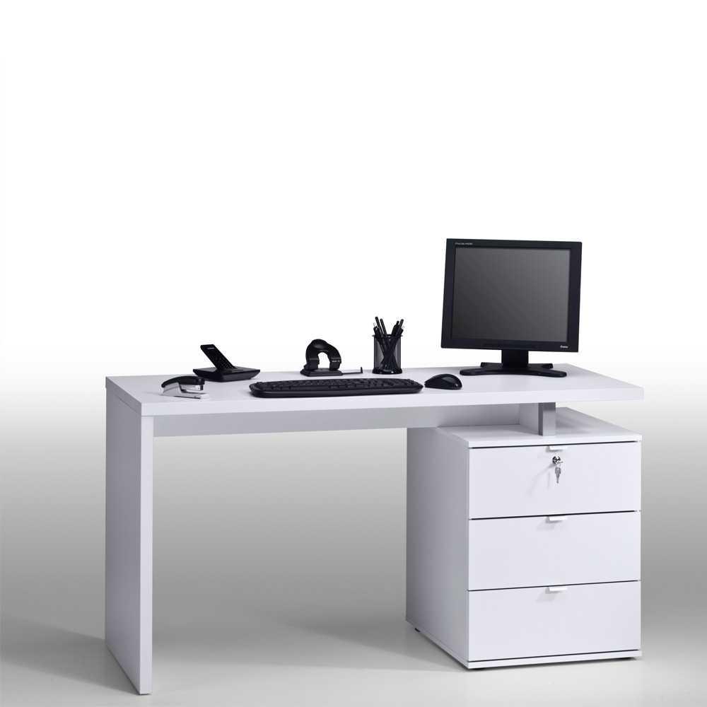 Computertisch in Weiß 140 cm breit | Büro > Bürotische > Computertische | Weiß | Holzwerkstoff | Müllermöbel