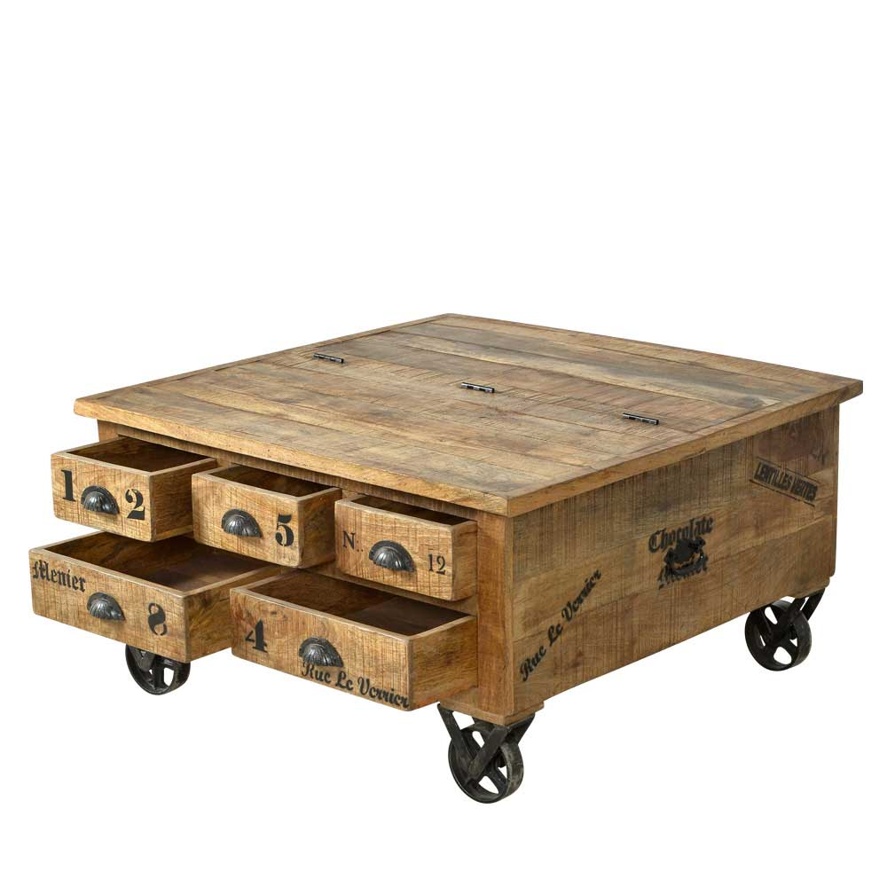Design-Truhentisch auf Rollen Loft Style | Wohnzimmer > Tische > Truhentische | Holz | Massivholz | Möbel Exclusive