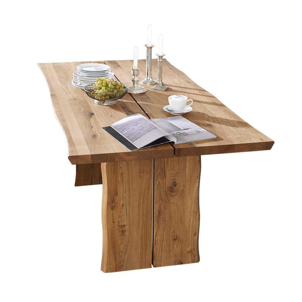 Esstisch mit Baumkante Wildeiche