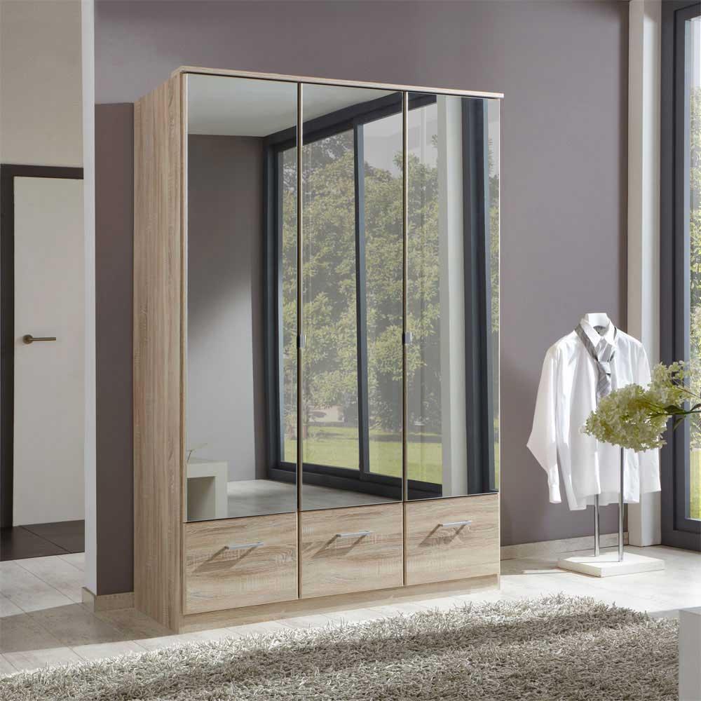 Kleiderschrank in Eiche Sägerau Spiegeltüren