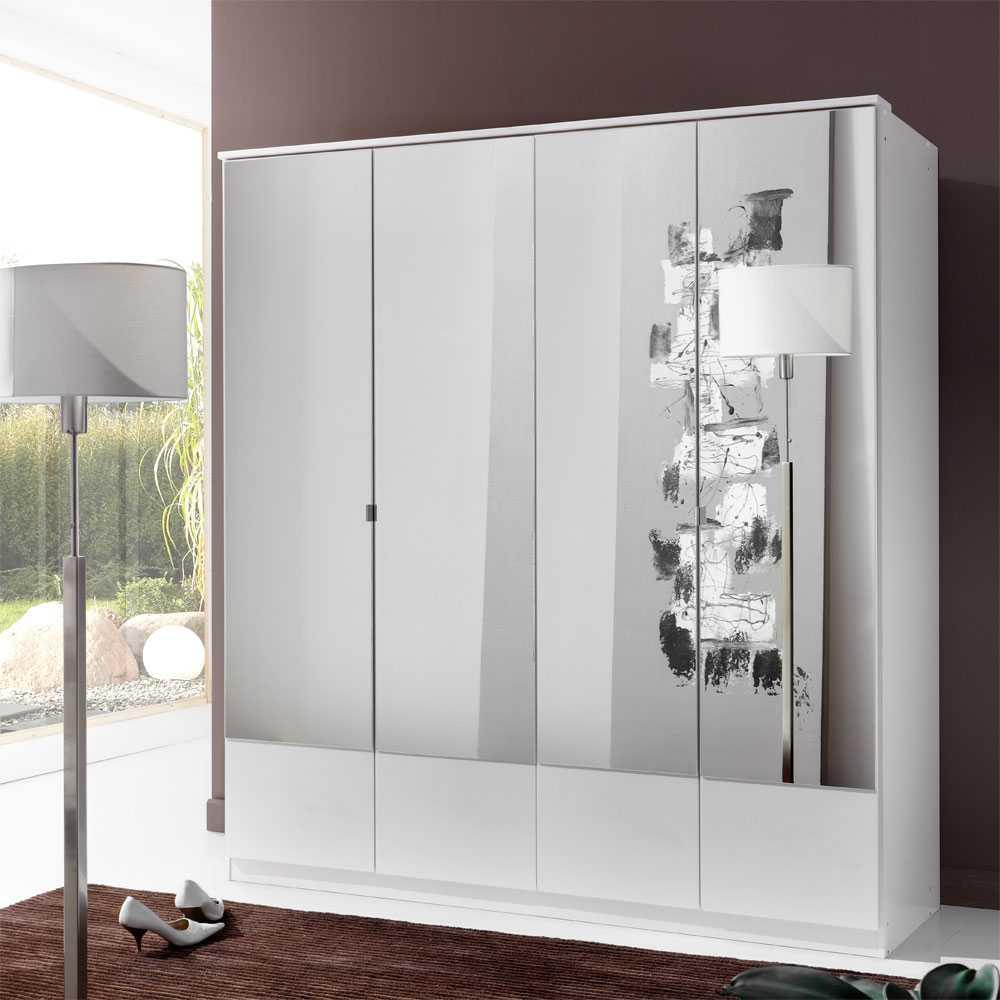 Kleiderschrank in Weiß Spiegeltüren