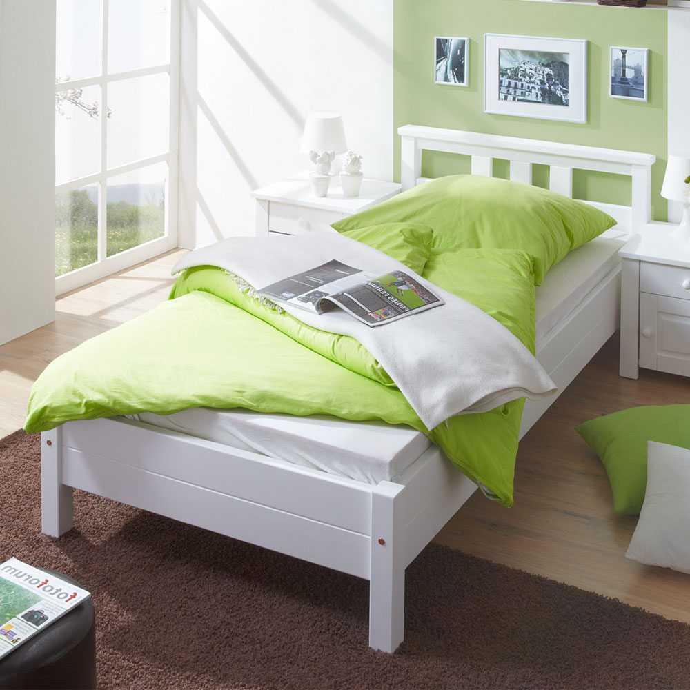 Einzelbett in weiß Kiefer Massivholz