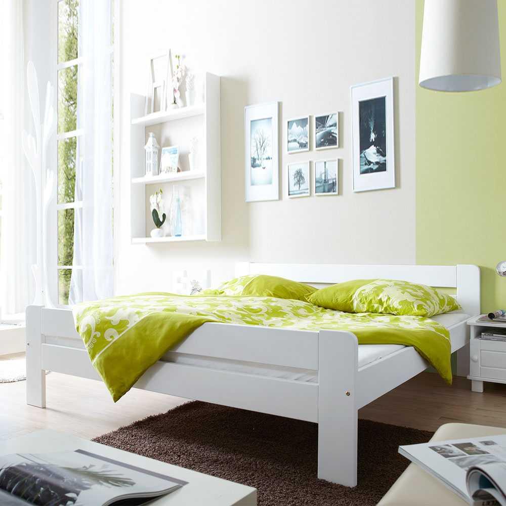 Jugendbett in Weiß Kiefer massiv