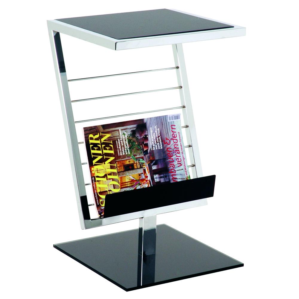 Zeitungsständer in Schwarz Schwarzglas | Dekoration > Aufbewahrung und Ordnung > Zeitungsständer | Grau | Glas - Stahl | Tollhaus