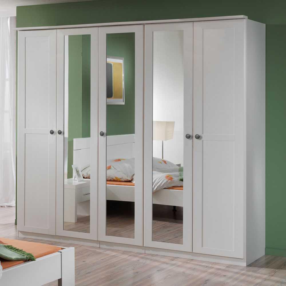 Spiegeltüren-Kleiderschrank in Weiß Profiltüren