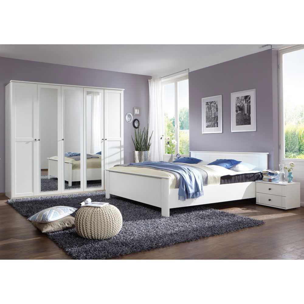 Schlafzimmermöbel Set in Weiß Landhaus modern (4-teilig)