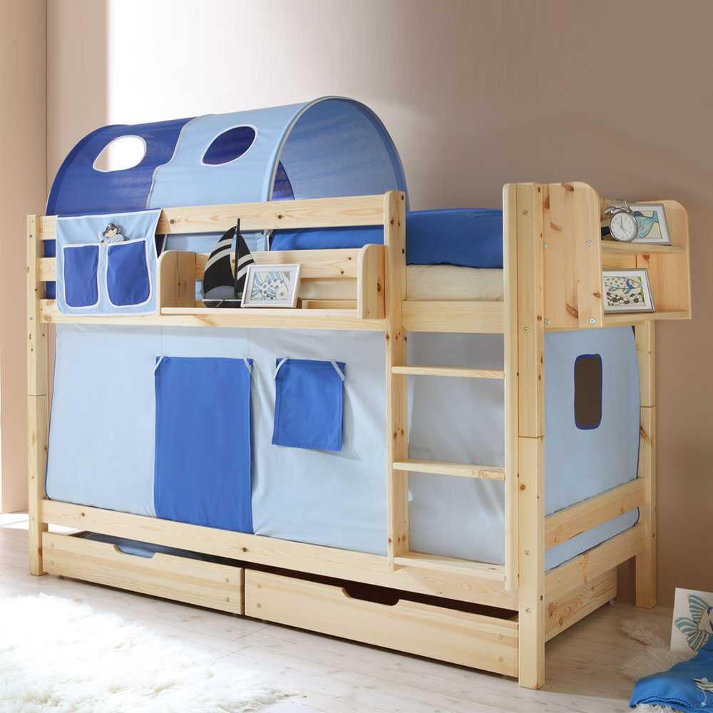 Jungen Etagenbett mit Schubkästen Blau | Kinderzimmer > Kinderbetten > Etagenbetten | Holz | Massivholz | Massivio