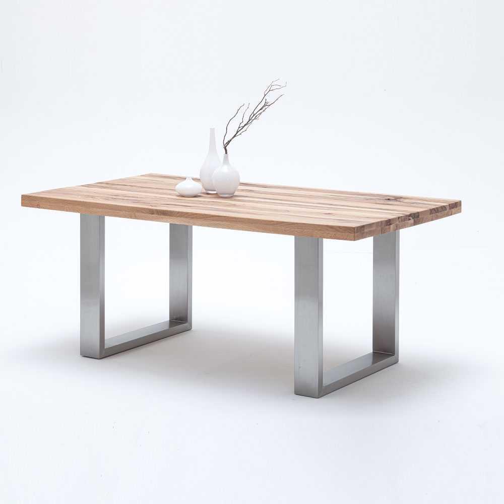 Genial Esstisch Holz Metall Foto Von Massivholztisch In Wildeichefarben Edelstahlgestell