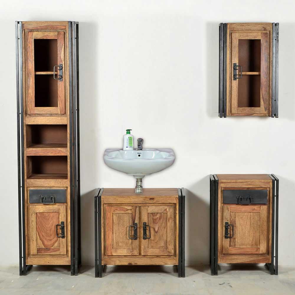 Badmöbel Komplettset aus Sheesham Massivholz Industry Style (4-teilig)