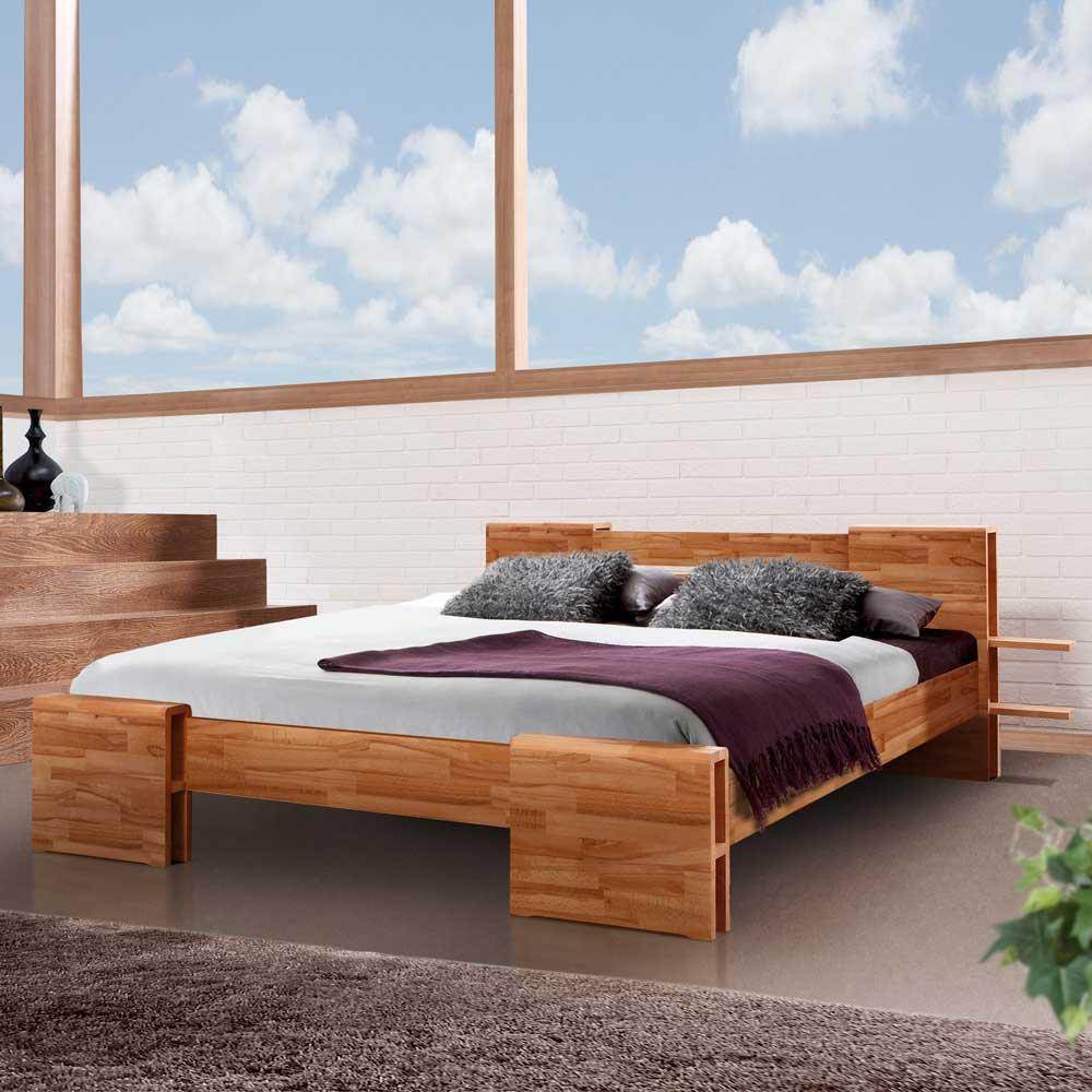 Massivholz-Futonbett in Kernbuchefarben Stauraum   Schlafzimmer > Betten > Futonbetten   Kernbuche - Massivholz - Massiv - Holz - Geölt   Basilicana