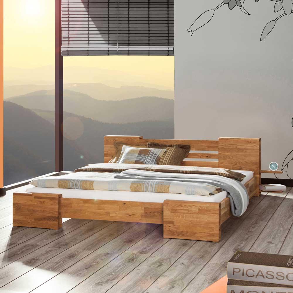 Futonbett aus Wildeiche Massivholz 120x200
