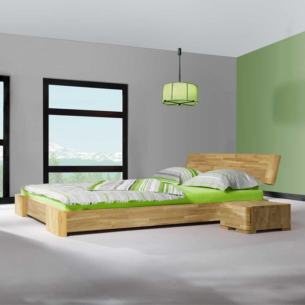 Futon-Doppelbett in Eichefarben Nachtkommoden | Schlafzimmer > Betten > Doppelbetten | Basilicana