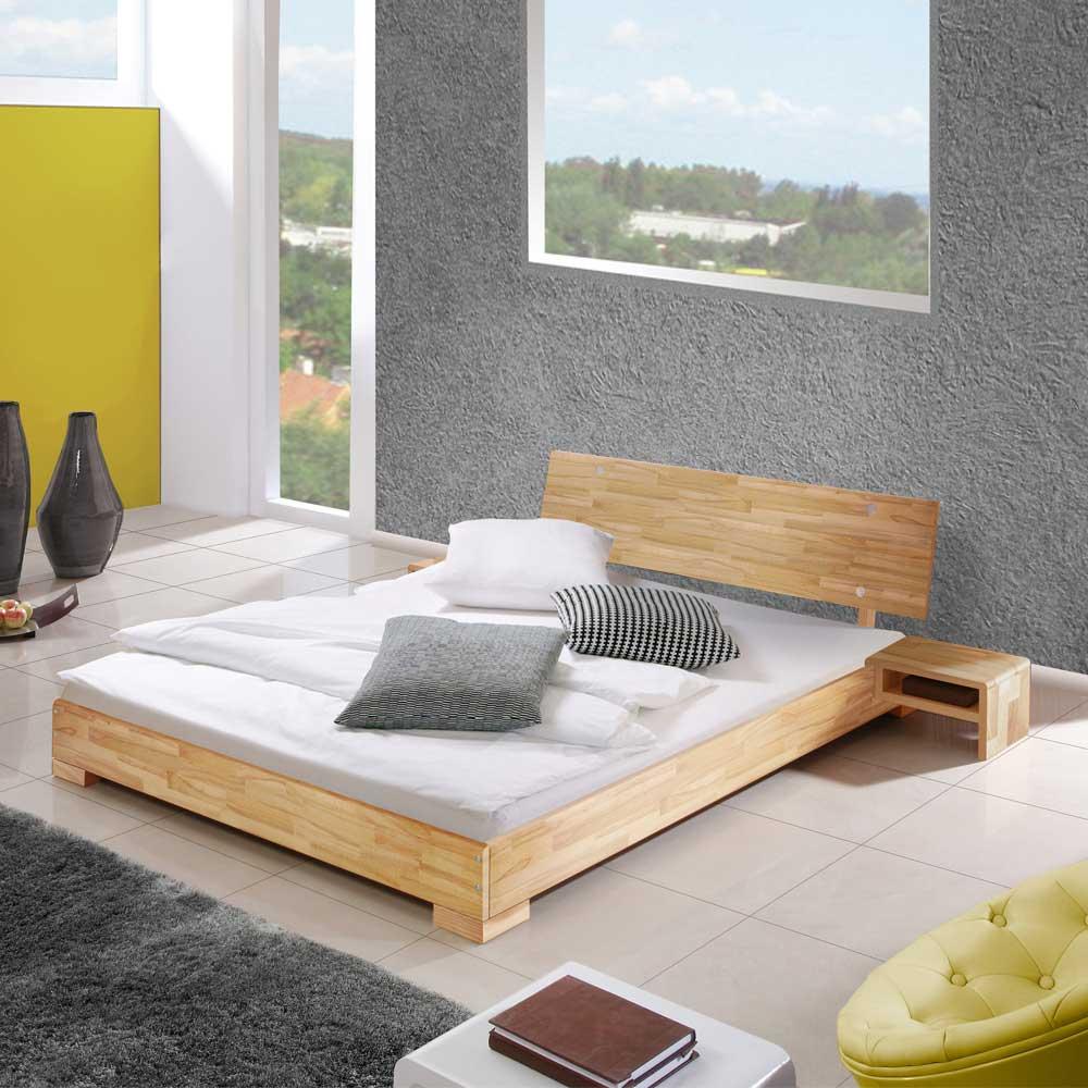 Doppelbett mit Nachttischen 180x200   Schlafzimmer > Betten > Doppelbetten   Holz   Massivholz   Basilicana