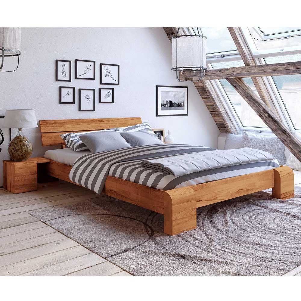 Futonbett aus Kernbuche Massivholz modern