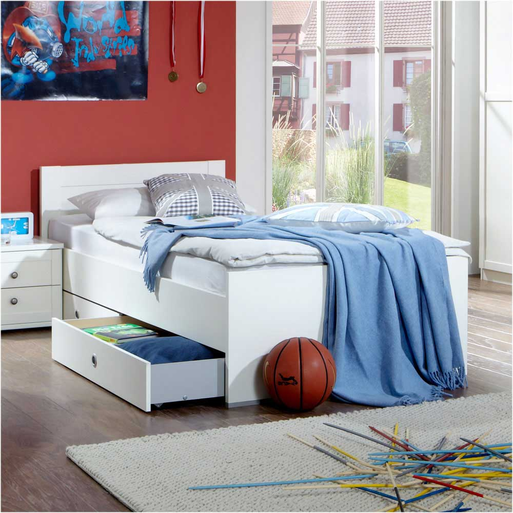 Kojenbett in Weiß mit Schubladen | Kinderzimmer > Jugendzimmer > Jugendbetten | Weiß | Holzwerkstoff | Star Möbel