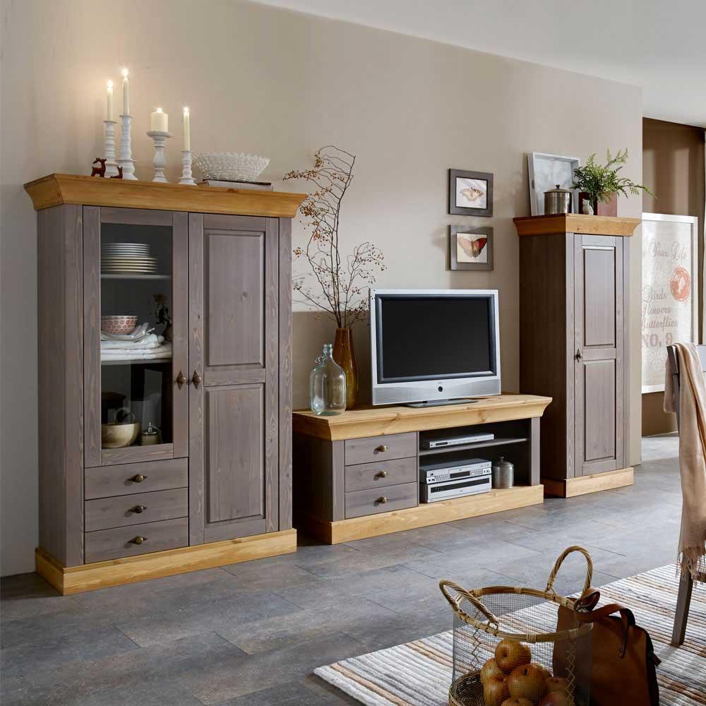 Wohnzimmer Anbauwand in Grau Kiefer Massivholz (3 teilig)