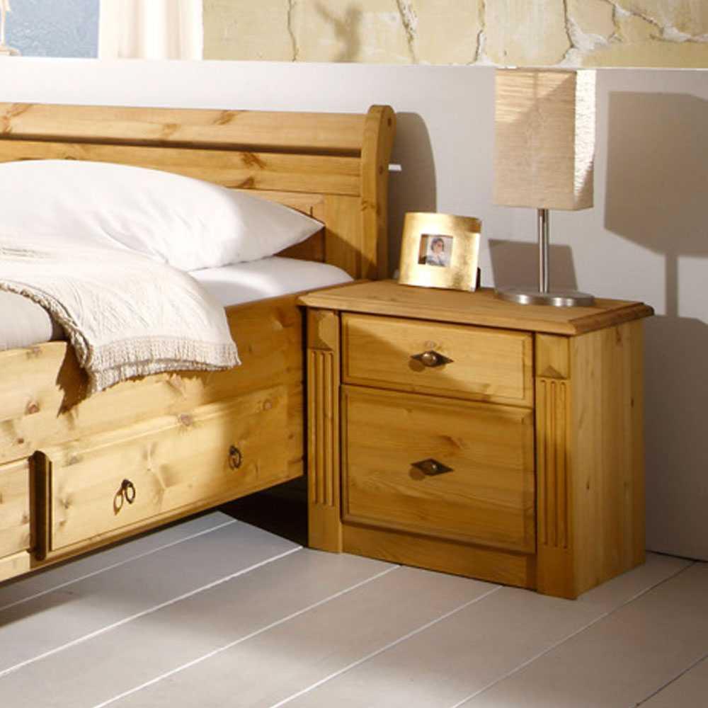 Nachttischkommode aus Kiefer Massivholz Landhausstil