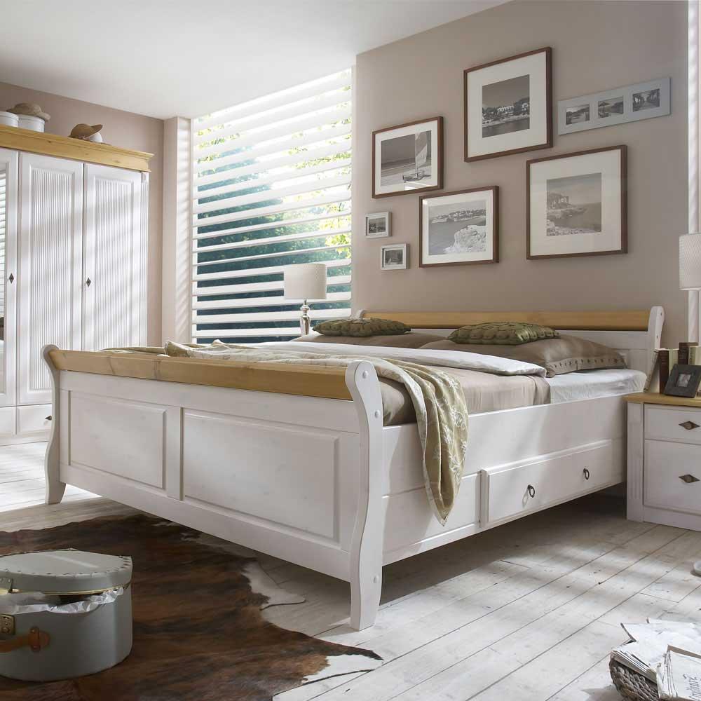 Doppelbett in Weiß Kiefer massiv   Schlafzimmer > Betten > Doppelbetten   Weiß   Massivholz   Life Meubles