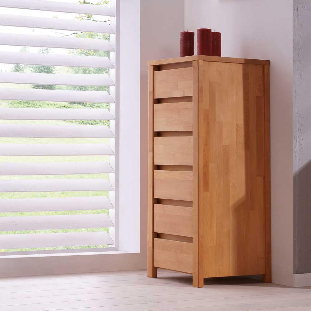 Schubladenkommode aus Buche Massivholz Geölt | Schlafzimmer > Kommoden > Wäschekommoden | Holz | Massivholz | Basilicana