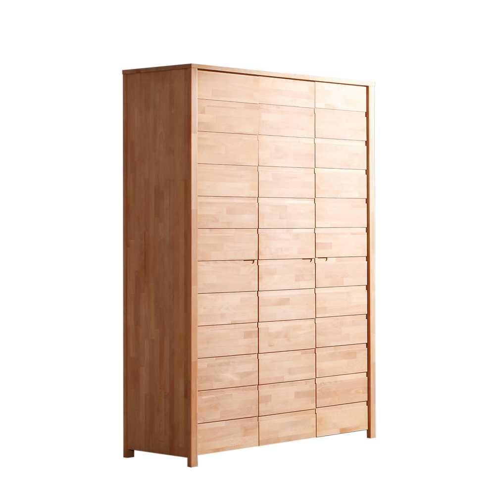 Massivholz Kleiderschrank in Buchefarben Modern