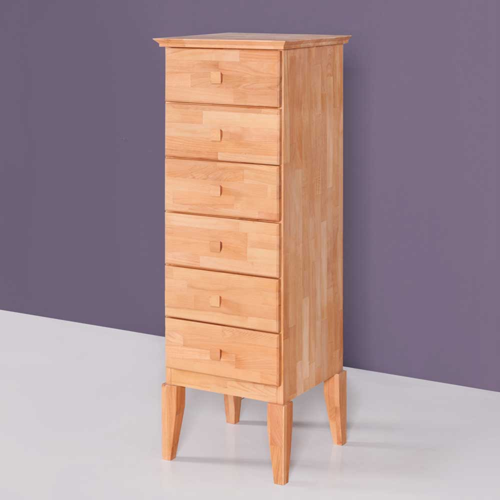 Schubladenkommode in Buchefarben Buche Massivholz | Schlafzimmer > Kommoden > Wäschekommoden | Holz | Massivholz | Basilicana