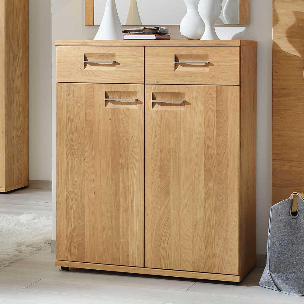 garderoben kommode aus wildeiche fuer schuhe 649 b2b. Black Bedroom Furniture Sets. Home Design Ideas