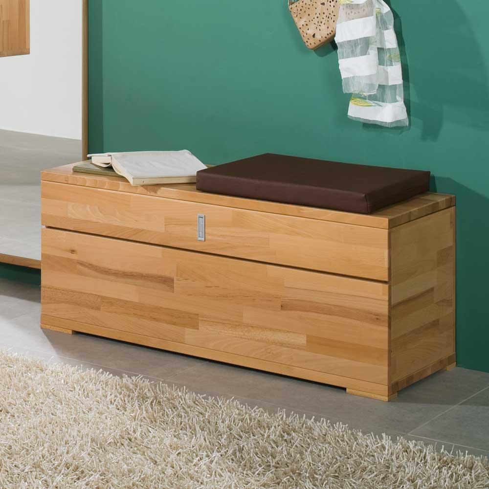 Sitztruhe aus Kernbuche Massivholz mit Kissen   Küche und Esszimmer > Sitzbänke > Sitztruhen   Kernbuche - Massivholz - Holz - Lackiert   Wooding Nature