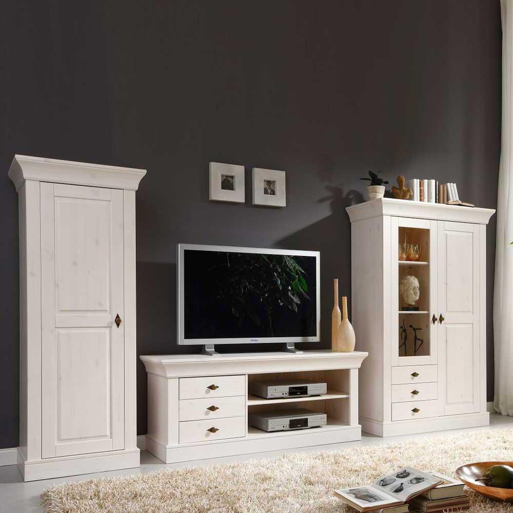 Wohnzimmer Wohnwand in Weiß Kiefer teilmassiv (dreiteilig)