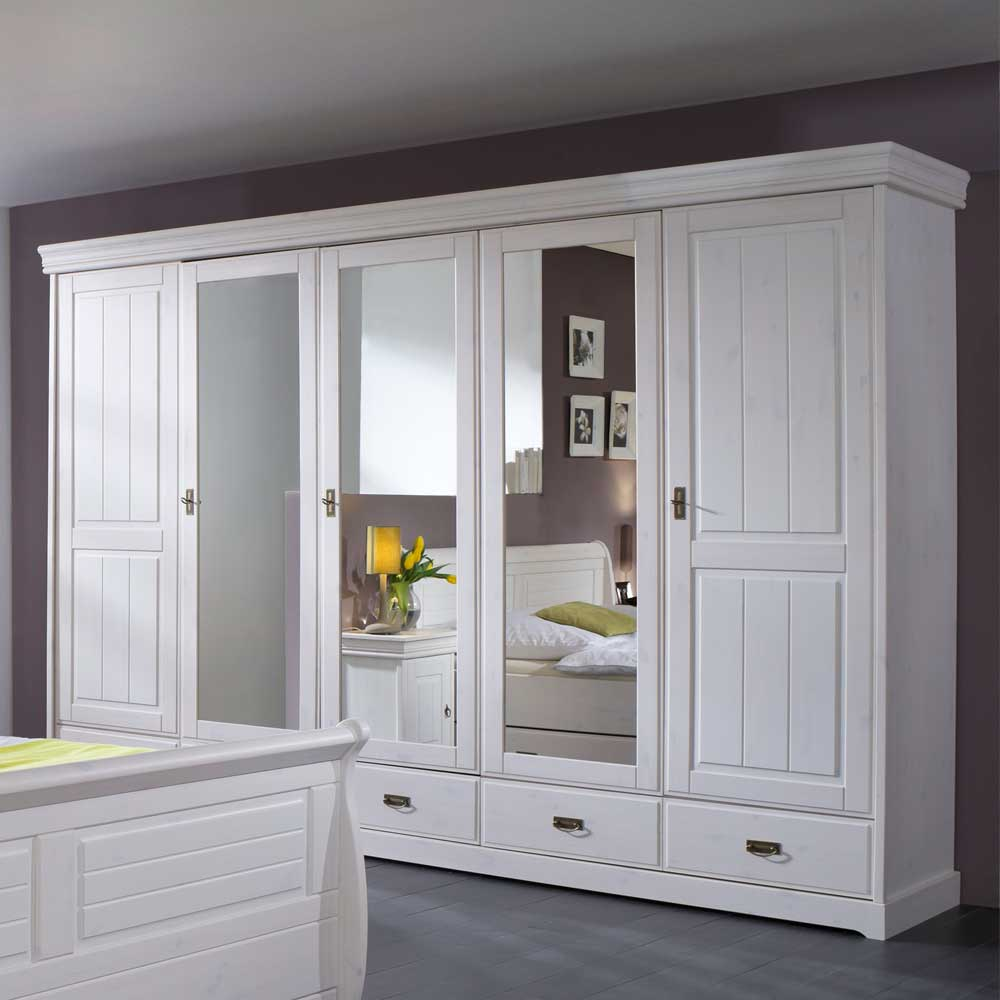 Schlafzimmerschrank in Weiß Glas