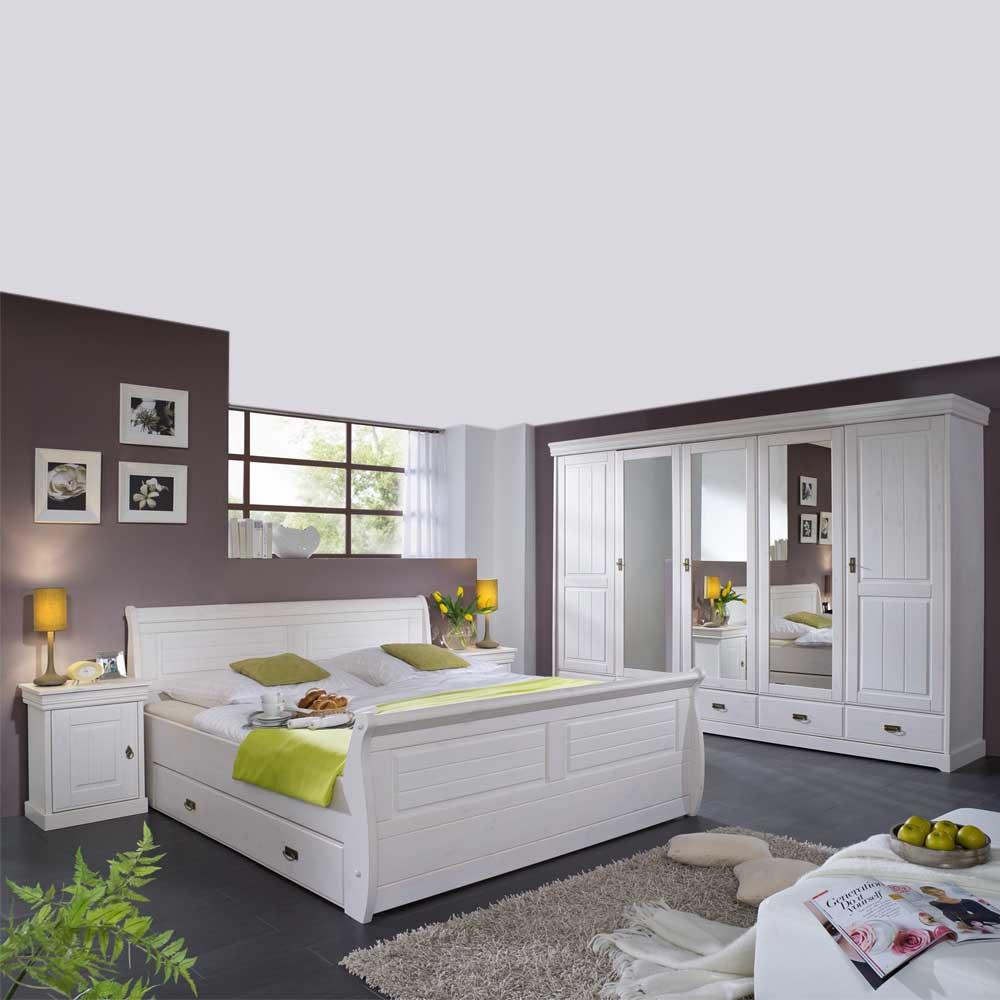 Schlafzimmerset in Weiß Kiefer Massivholz (4-teilig)