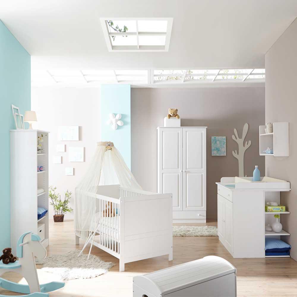 Babyzimmermöbel Set in Weiß schlicht (5-teilig) | Kinderzimmer > Babymöbel | Weiß | Massivholz | Massivio