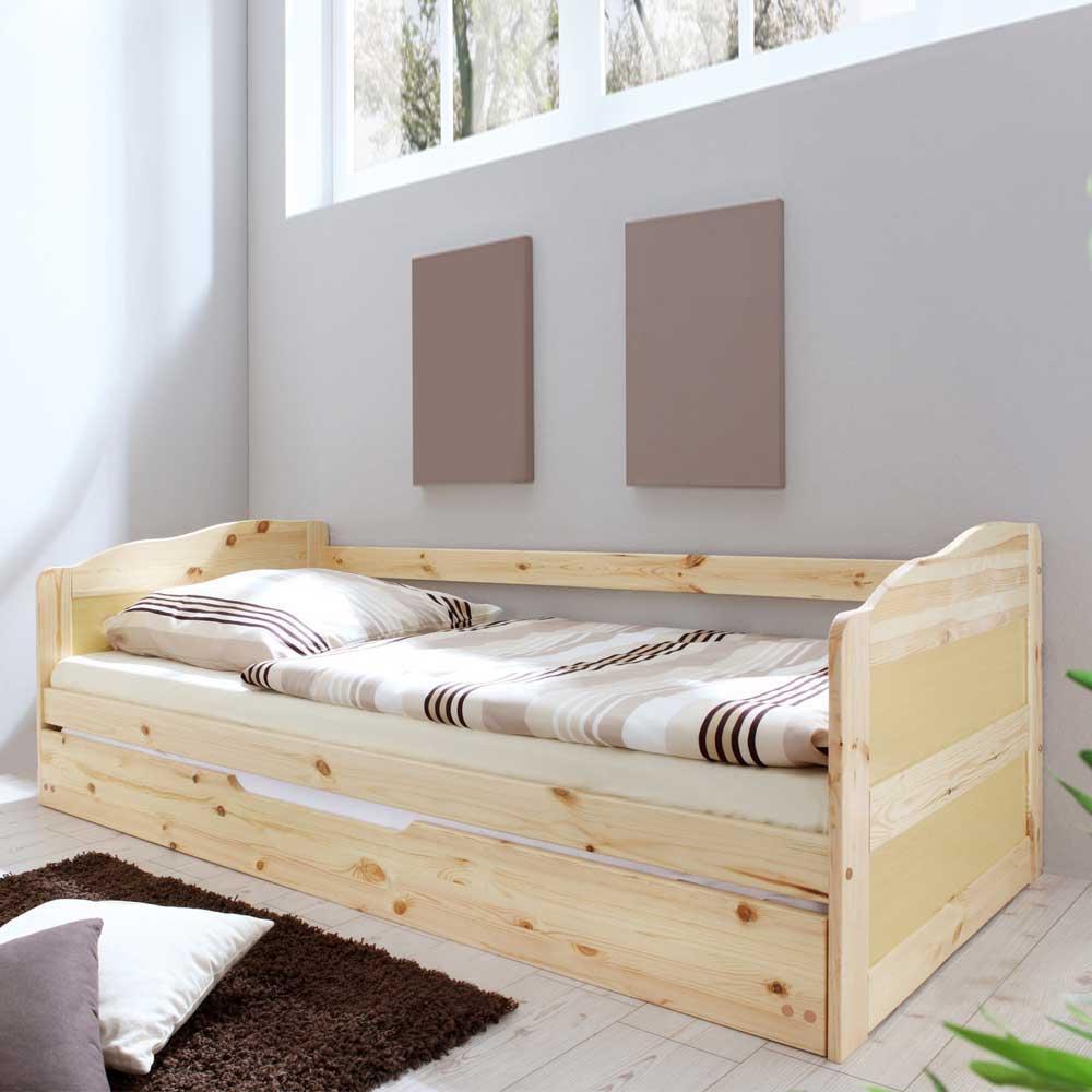 Bett mit Bettauszug Kiefer Massivholz