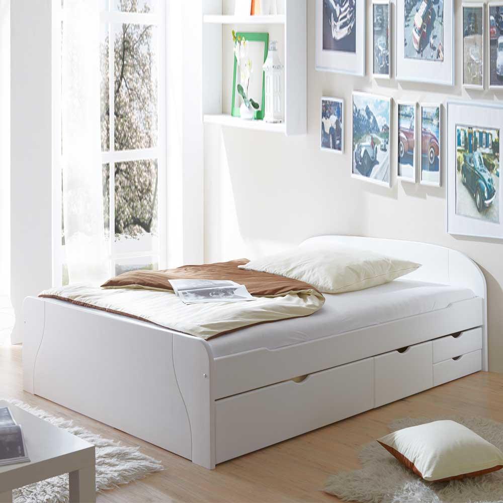 Jugendbett aus Kiefer Massivholz Weiß