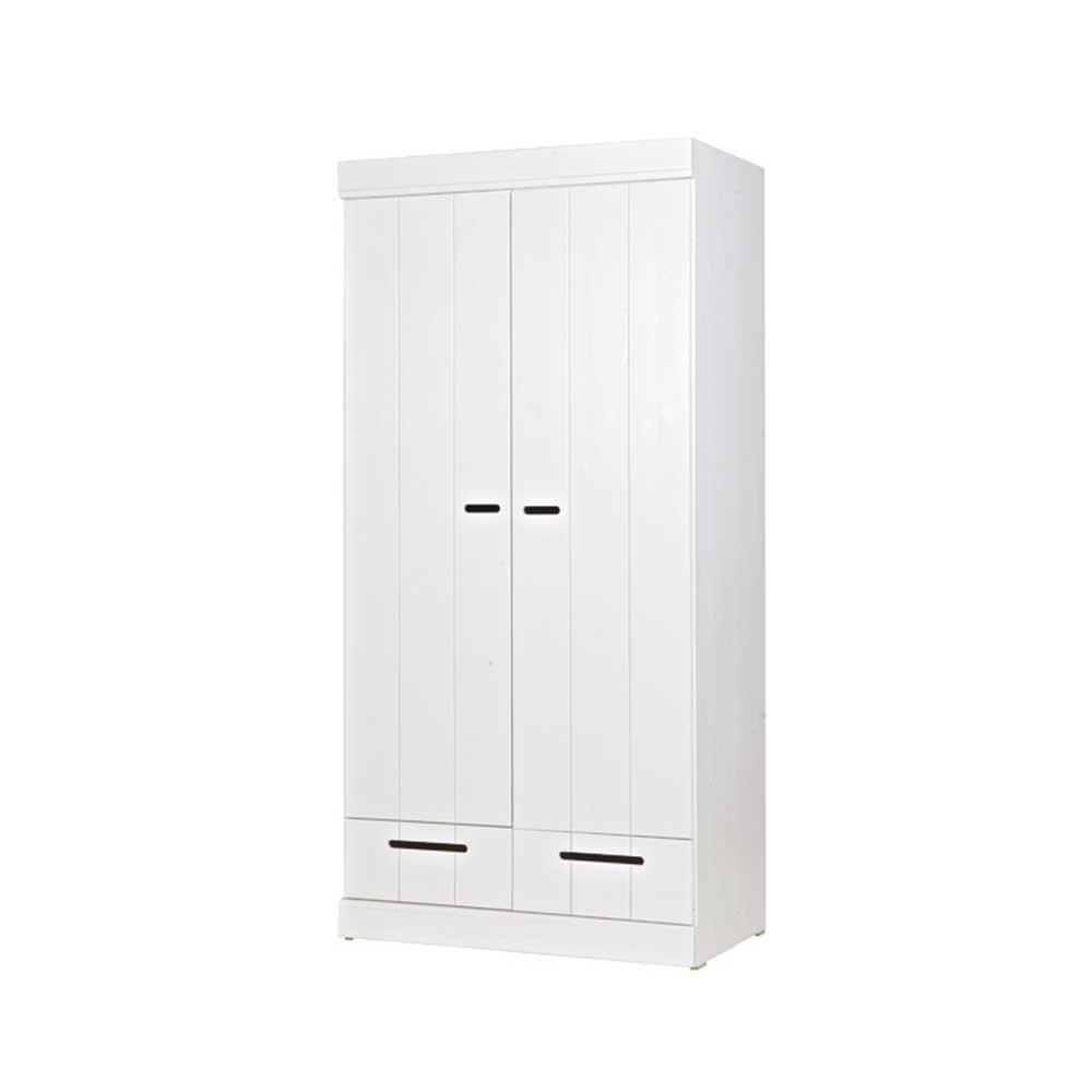 Schlafzimmer Kleiderschrank in Weiß Kiefer massiv