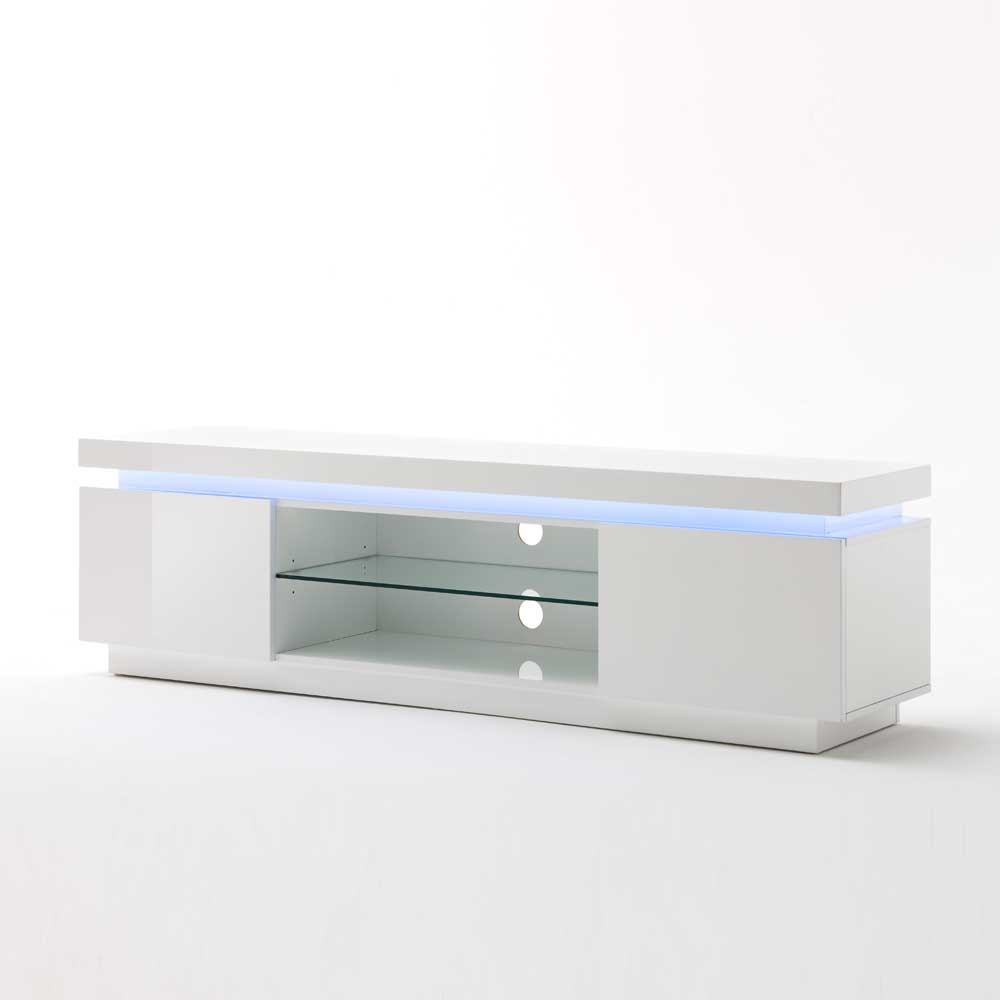 Lowboard mit LED Farbwechsel Weiß Hochglanz