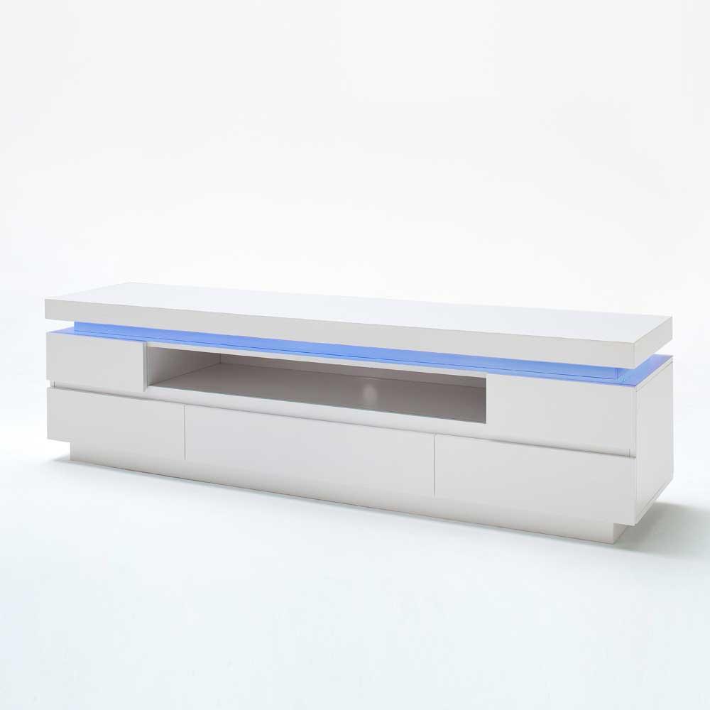 TV Lowboard mit Farbwechsel Beleuchtung Weiß Hochglanz