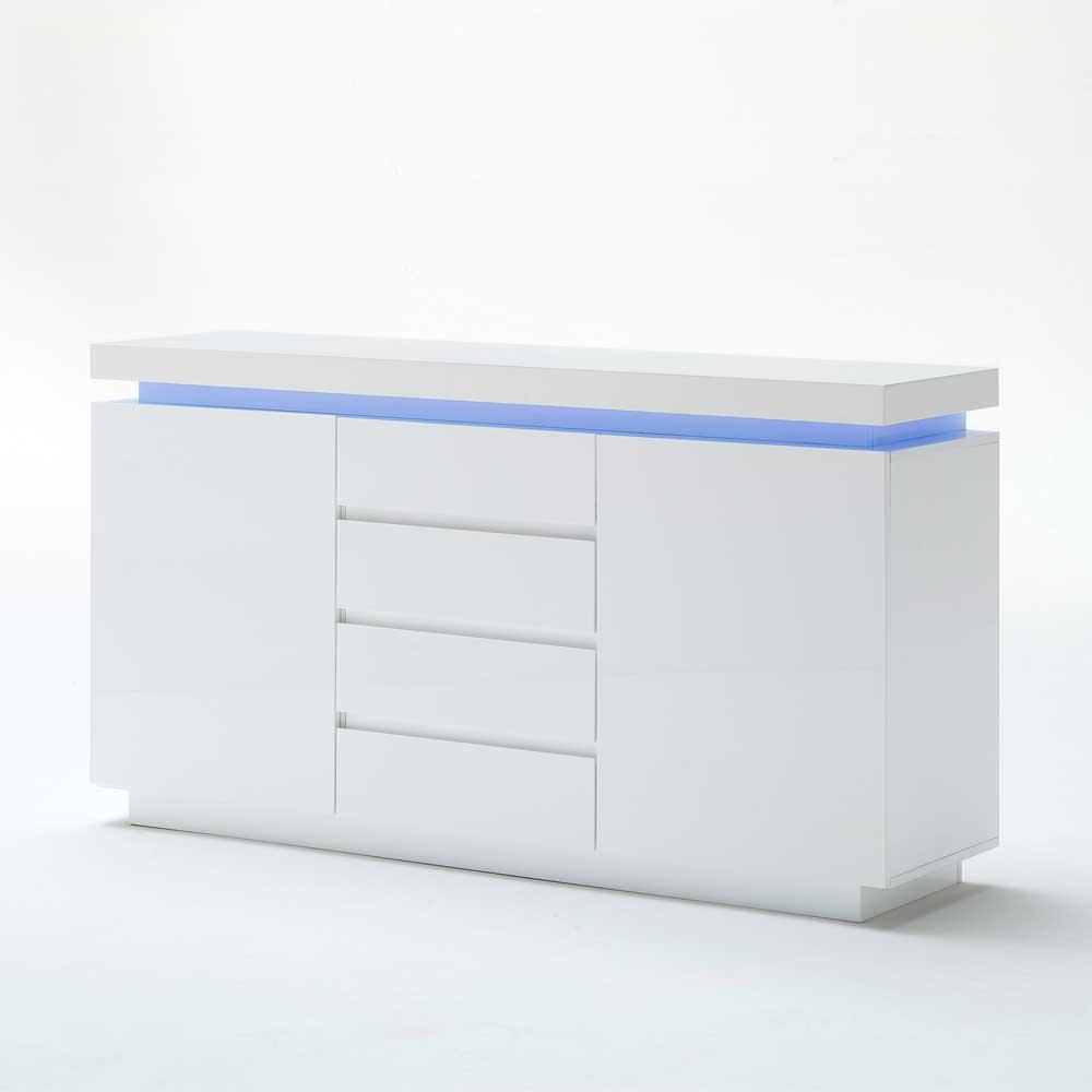 Hochglanz Sideboard mit Farbwechsel Beleuchtung Weiß