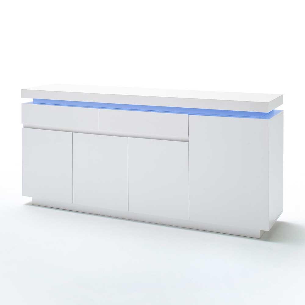 Hochglanz Sideboard mit LED Beleuchtung Weiß