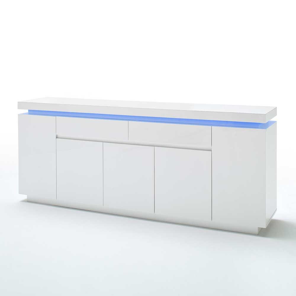 Hochglanz Sideboard in Weiß mit LED Beleuchtung