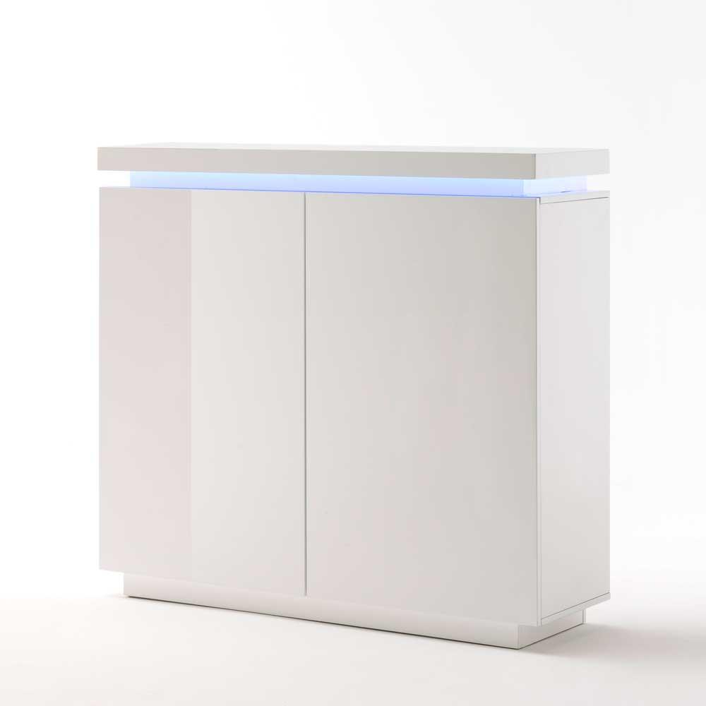 Sideboard in Hochglanz Weiß Beleuchtung