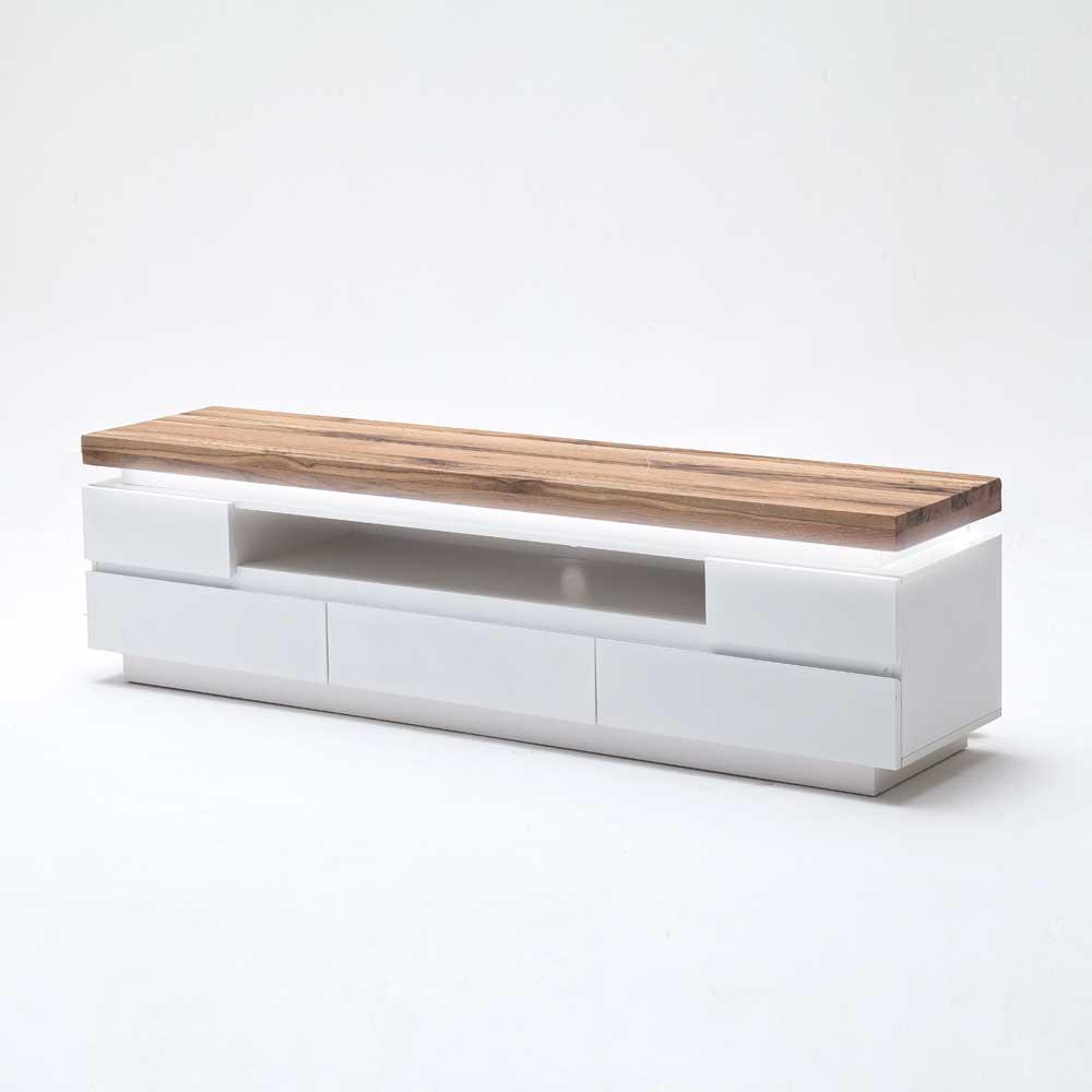 TV Board mit LED Beleuchtung Weiß matt