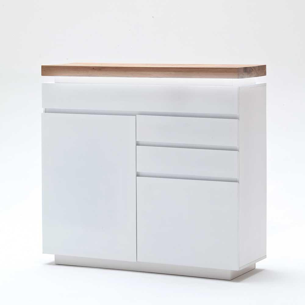 Sideboard in Weiß mit Wildeiche Massivholz
