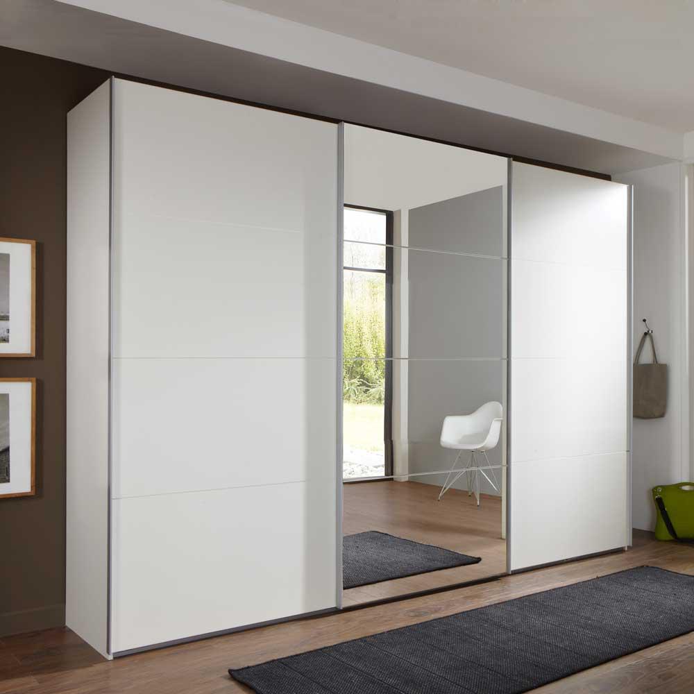 Schwebetürenschrank in Weiß mit Spiegeltür 270 cm breit