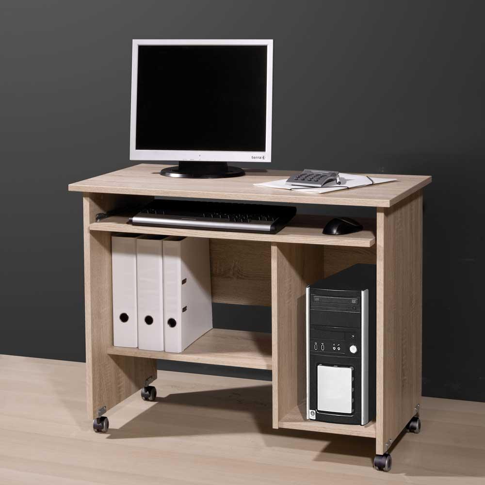 Computertisch mit Rollen Sonoma Eiche | Büro > Bürotische > Computertische | Holz | Holzwerkstoff | Möbel Exclusive