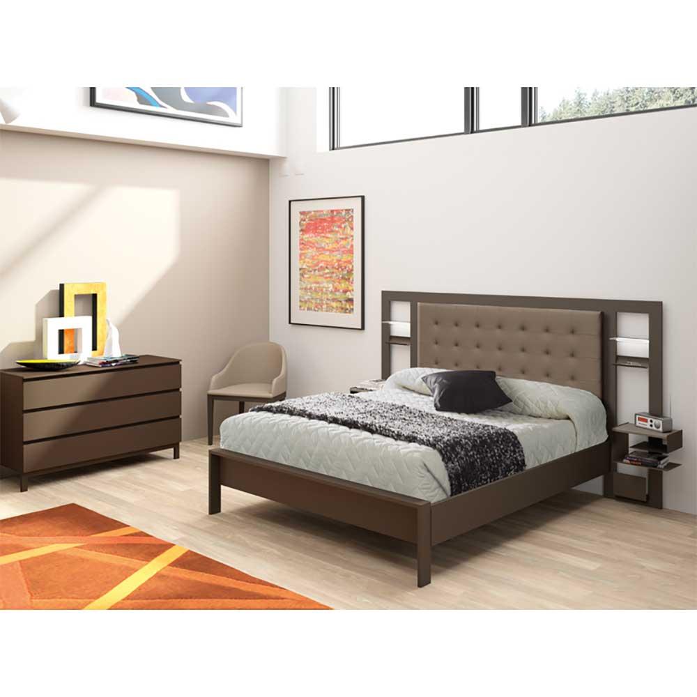 Metallbett in Braun Polsterkopfteil | Schlafzimmer > Betten > Metallbetten | Braun | Metall | Violata Furniture