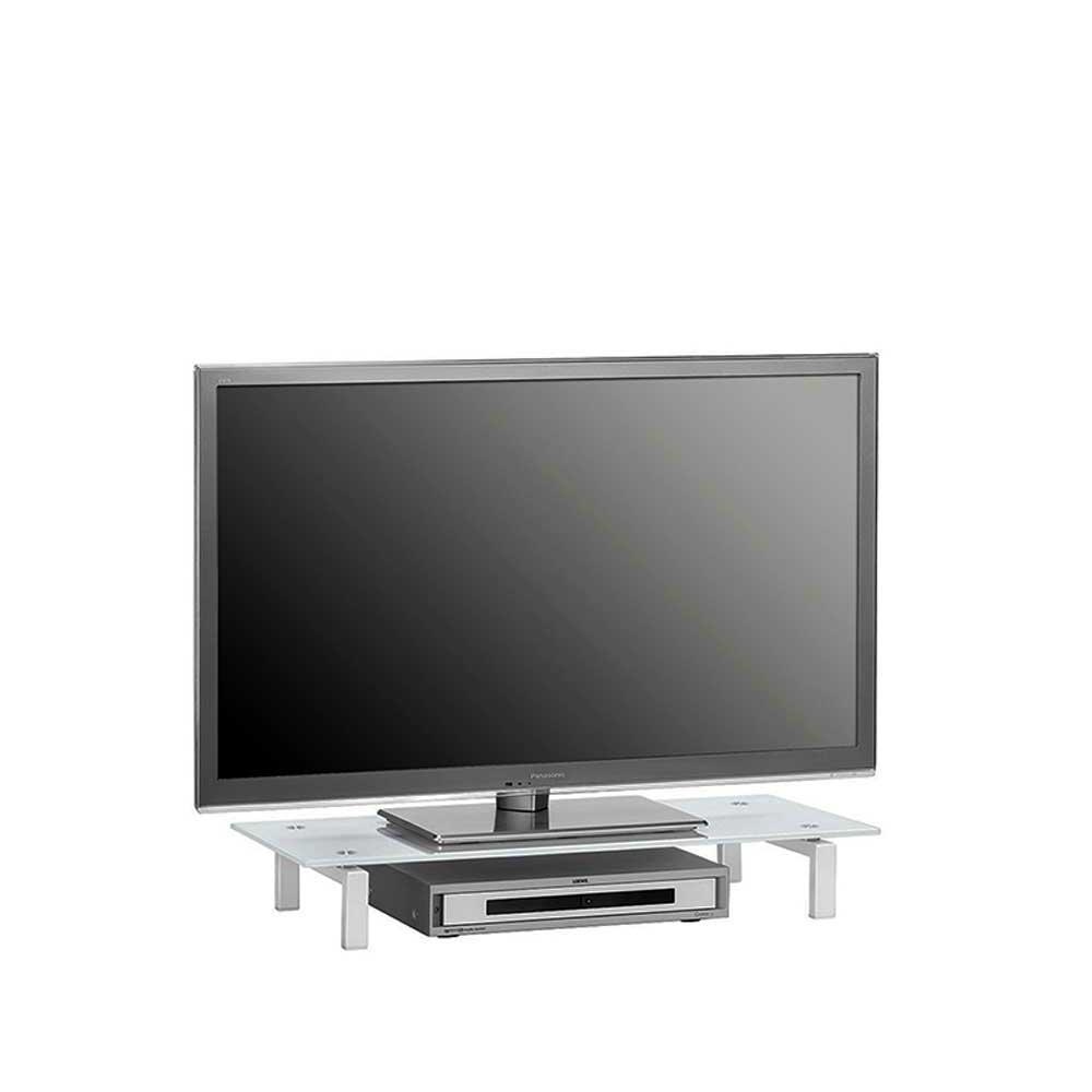 TV Aufsatz aus Metall Weiß Glas