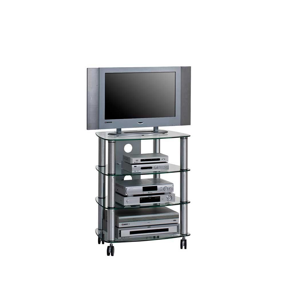 Hifi Rack auf Rollen Glas | Wohnzimmer > TV-HiFi-Möbel > HiFi-Racks | Grau | Metall | Müllermöbel